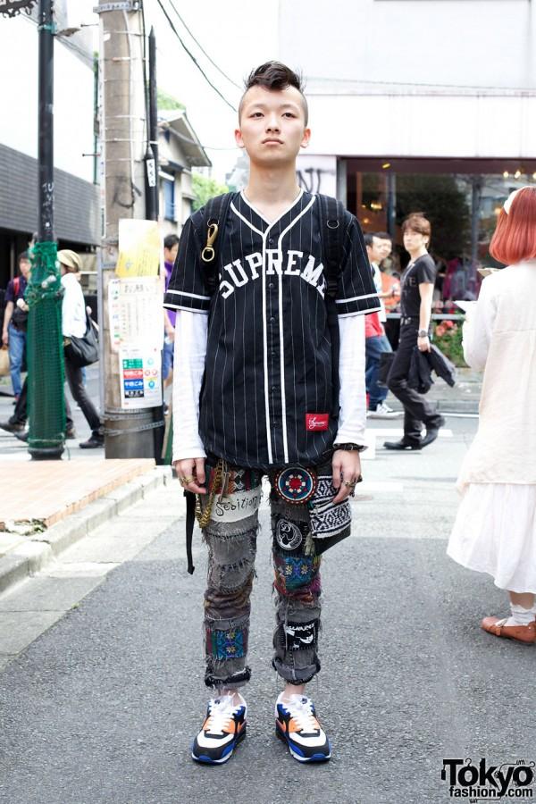 Mohawk Hair Supreme Baseball Shirt Amp Handmade Patched Jeans