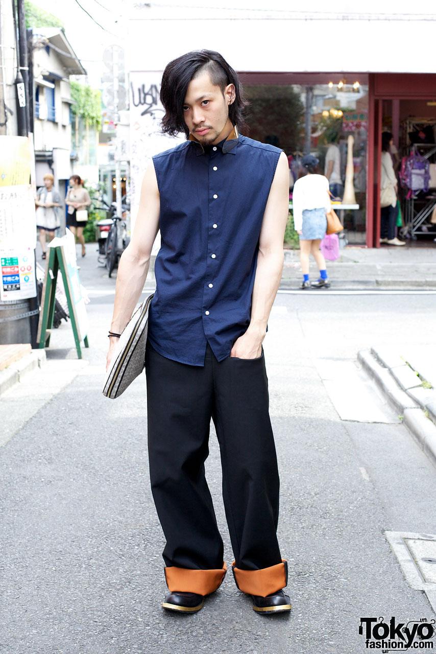 Simons Metal Collar Shirt & Contrast Cuff Pants