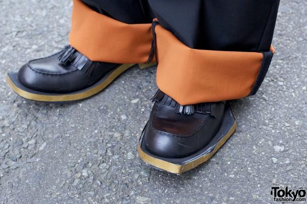 Raf Simons cuffed pants & Juun J tasseled shoes