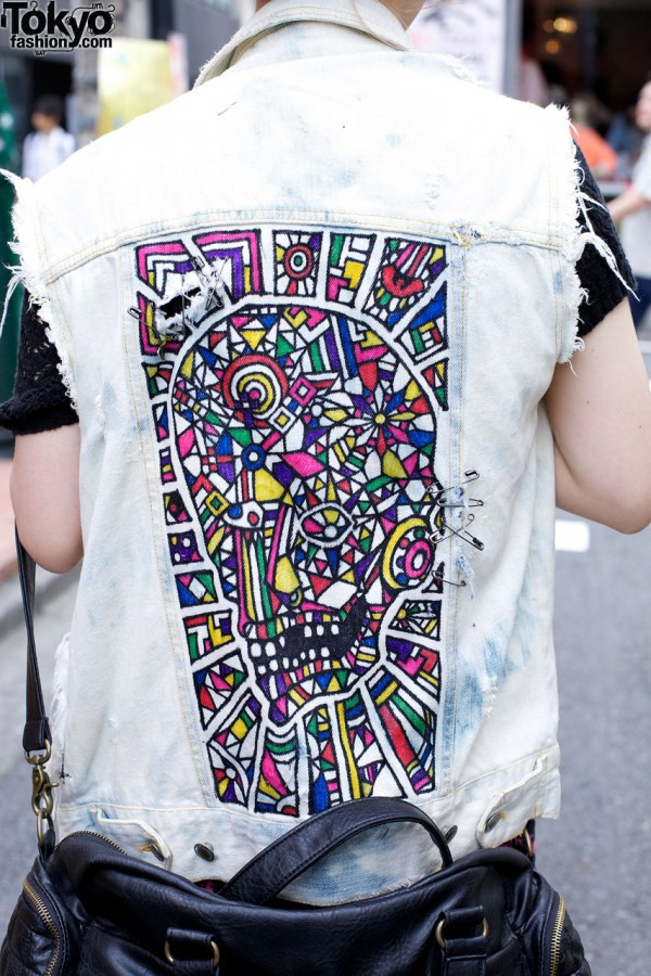 Painted remade denim vest