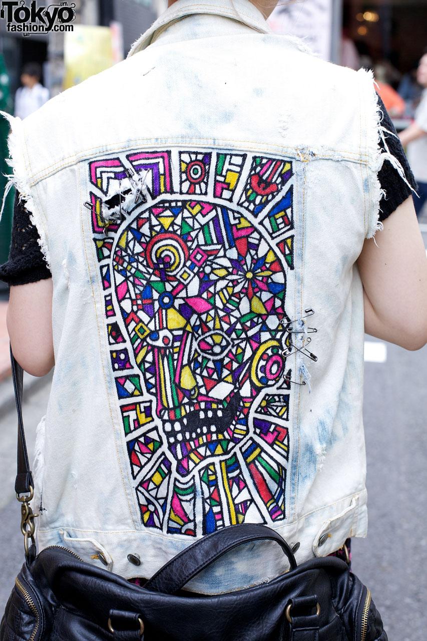 Bright Romantic Standard Dress Amp Remade Painted Denim Vest