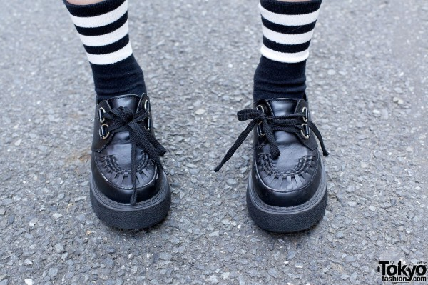 Black creepers & striped socks in Harajuku