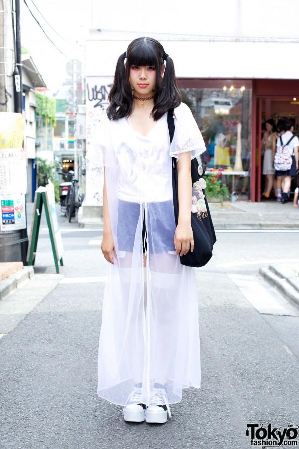 Shorts, Thigh Highs & White Chiffon Robe