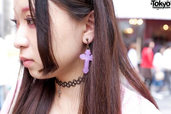 Purple crucifix earring & tattoo choker