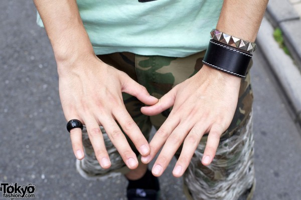 Black ring, leather wristband & studded bracelet