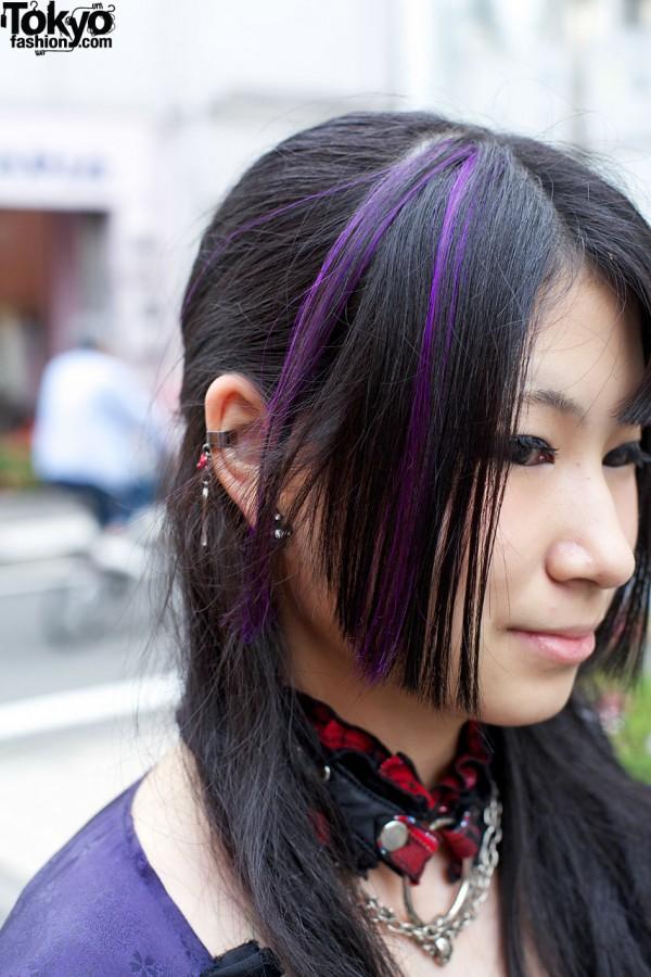 Purple-Streaked Hair in Harajuku