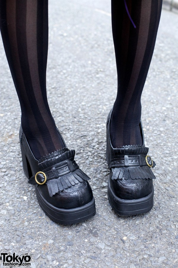 Chunky Gothic Loafers & Striped Stockings