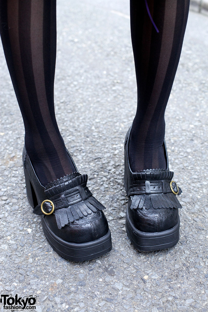 Chunky Gothic Loafers Amp Striped Stockings Tokyo Fashion News