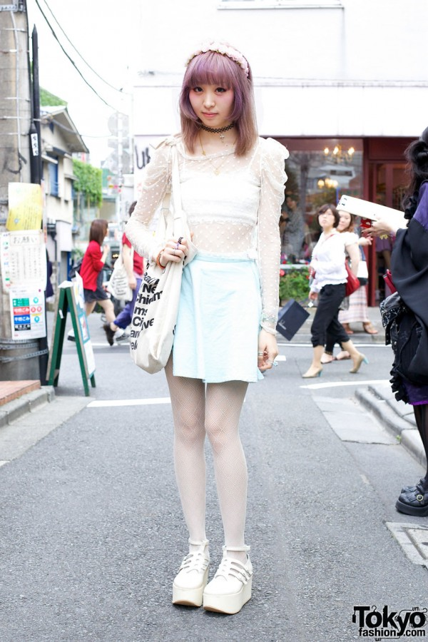 Yuno in Harajuku w/ Flower Headband, Sheer Top & Tokyo Bopper