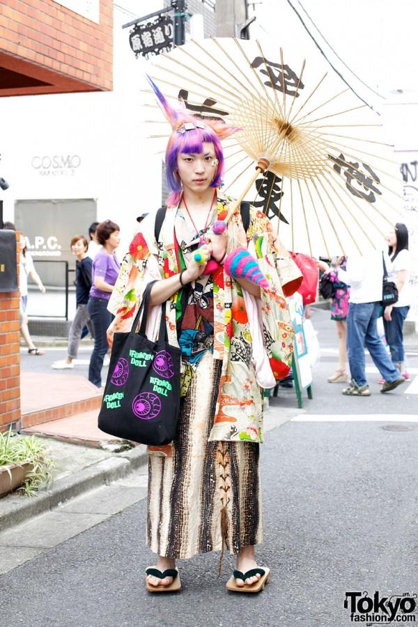 Maro Broken Doll's Purple Hair & Harajuku-Meets-Traditional Japanese Fashion