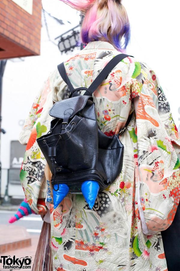 Kimono Meets Backpack in Harajuku