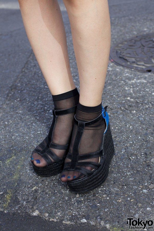 Sly platform sandals, sheer socks & blue nail polish