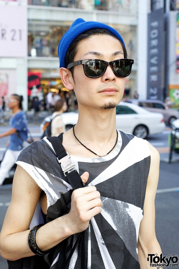 Bead necklace & Raf Simons tank