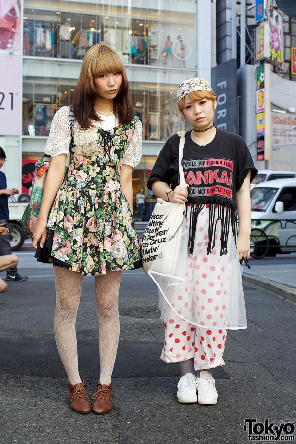 Harajuku Girls in Chintz Lace-Up Dress, Chiffon Gown & Dotted Pajama Pants