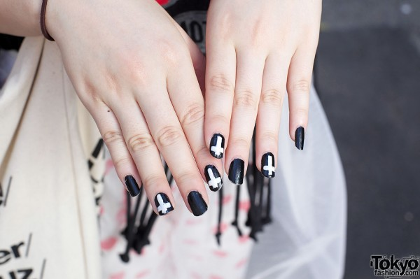 Black nails w/ white cross decoration