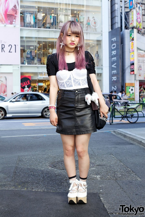 Leather Skirt & Bustier Top in Harajuku