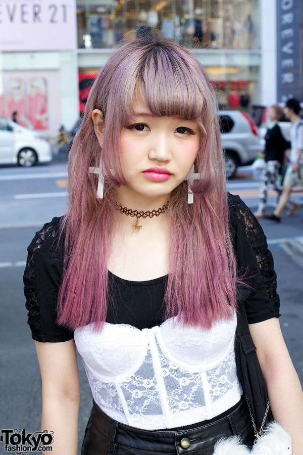 Lavender-Pink Japanese Hairstyle