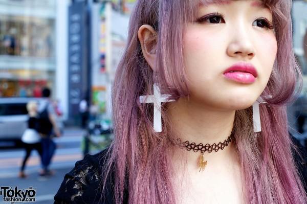 Cross Earrings & Lavender Hair