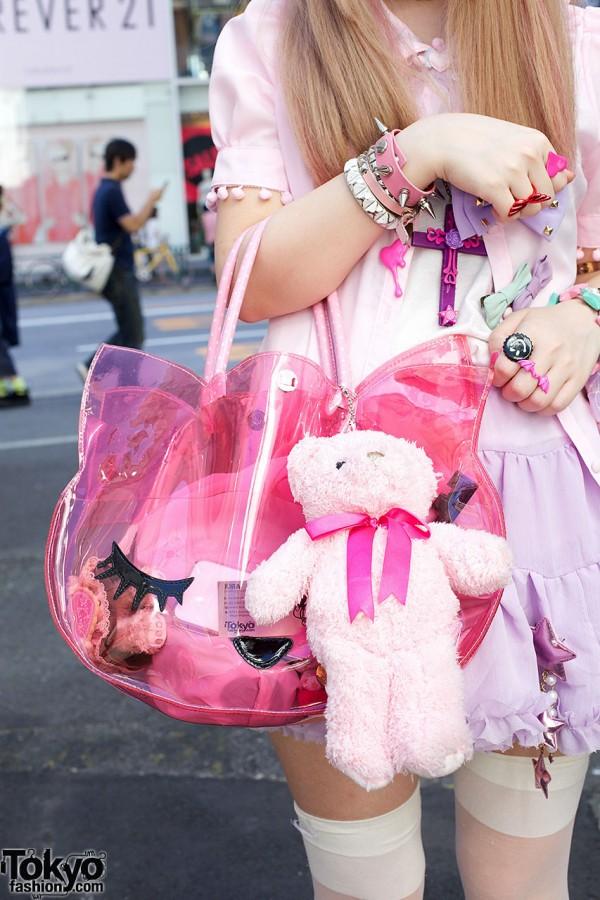 Pink vinyl purse & stuffed bear