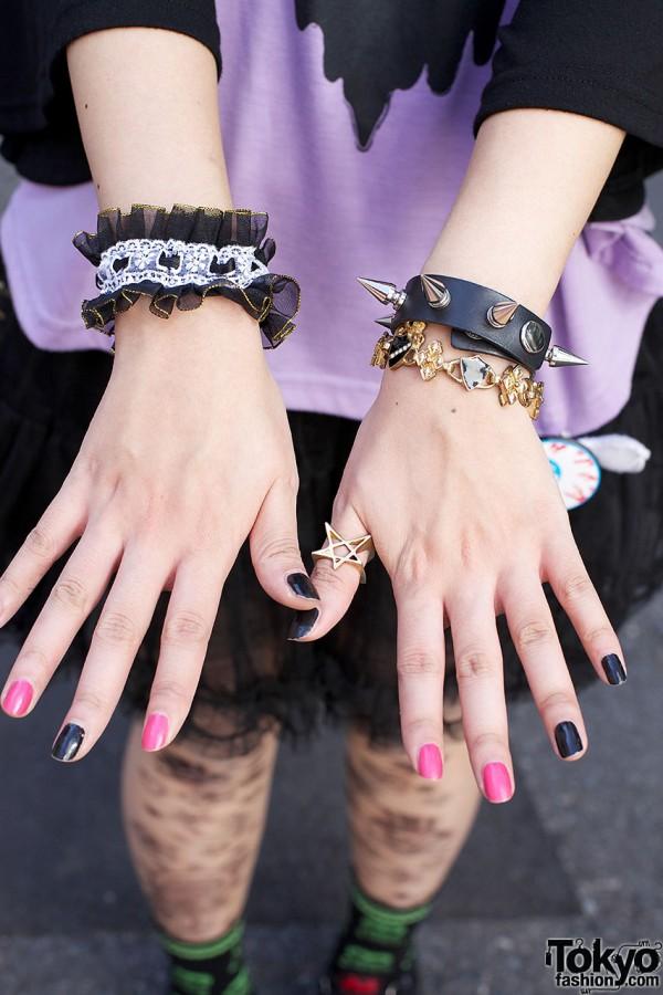 Lace garter, charm bracelet & spiked wristband