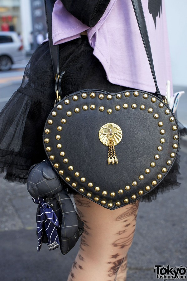 Studded leather heart purse