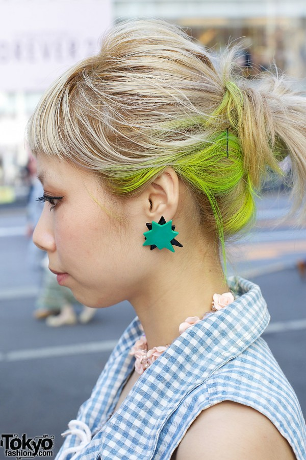 Neon-green Hair & Pop Earrings