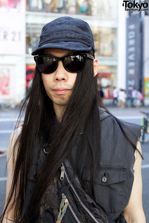 Long hair w/ sunglasses & cap