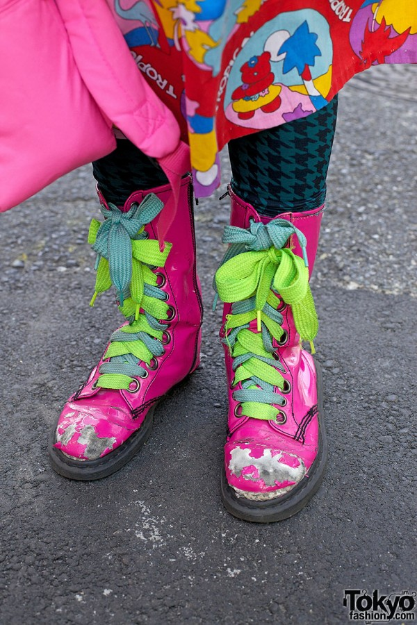 Pink Boots & Neon Laces in Harajuku