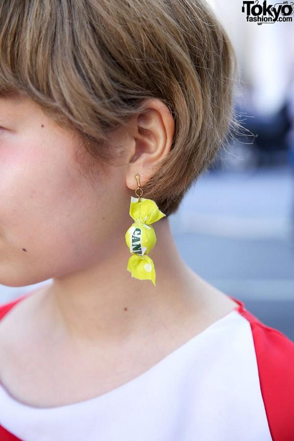 Harajuku girl's wrapped candy earring