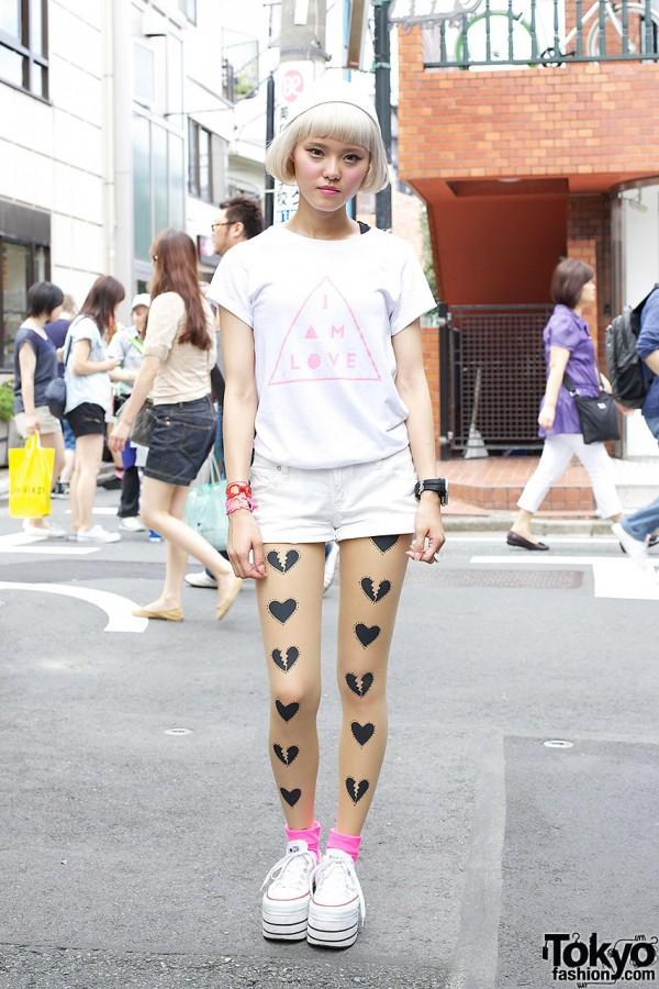 Kissy from Nadia Harajuku w/ Short Bob, Tattoo Tights & Platform Converse