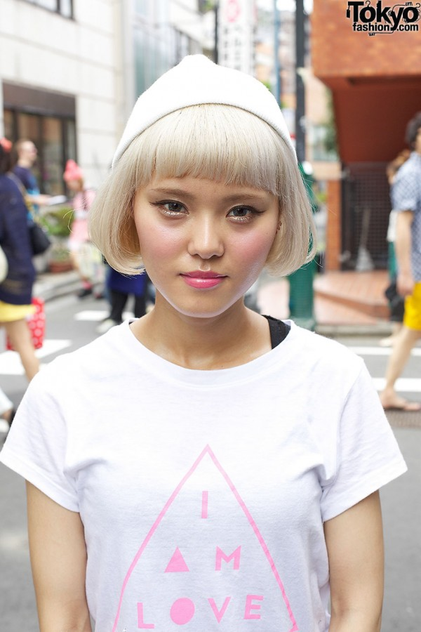 Blonde Short Bob Hairstyle in Harajuku