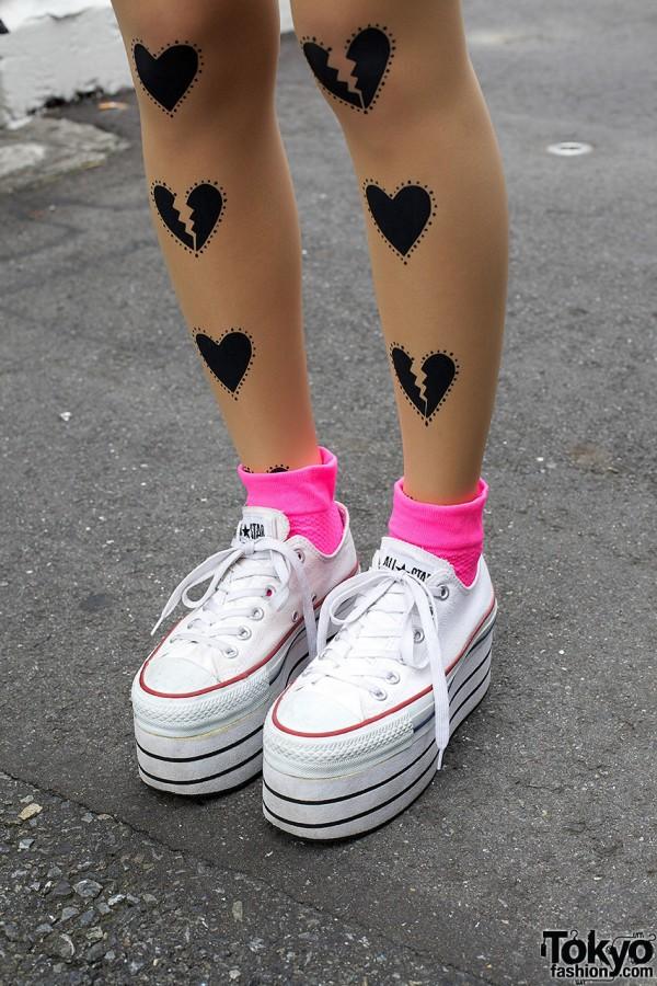 Platform Converse & Neon Socks