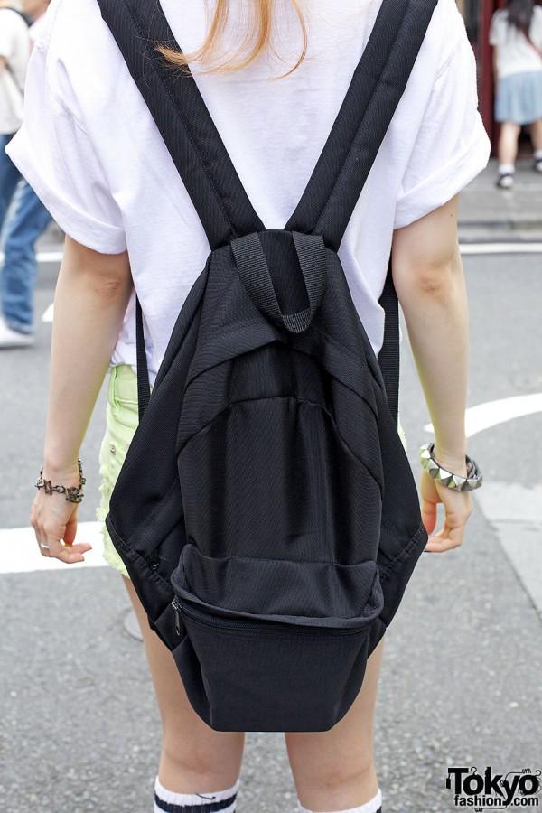 Simple black backpack