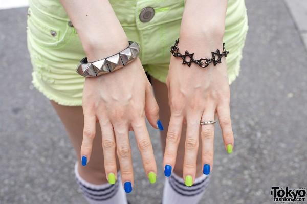 Studded bracelet & Star of David bracelet w/ alternating polish