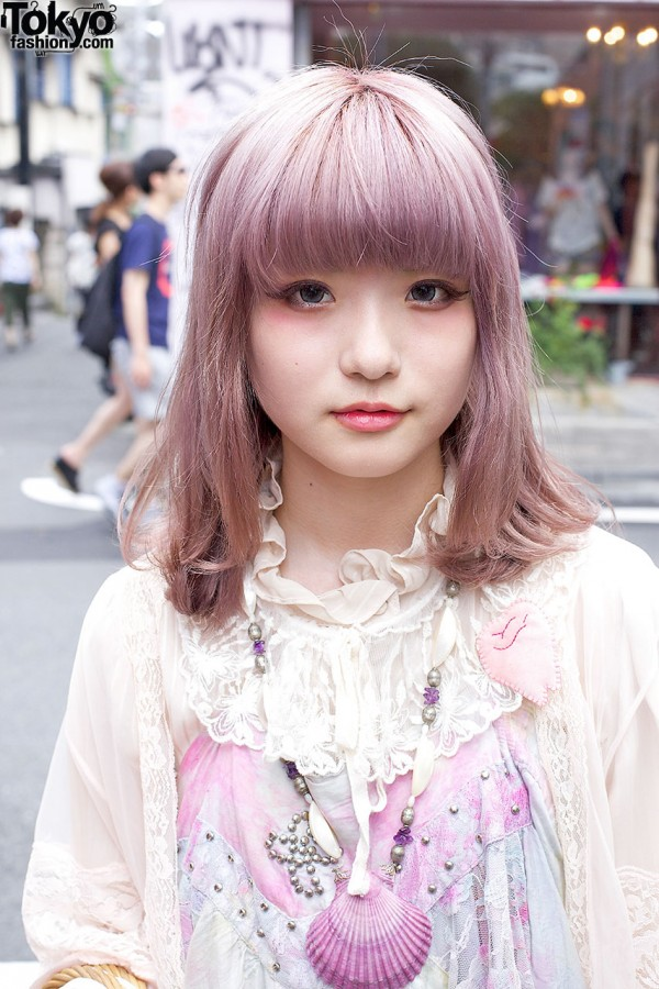 Pretty Pink Hair & Lace Collar in Harajuku