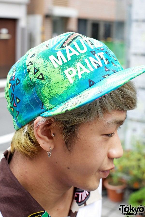 Graphic paint cap in Harajuku