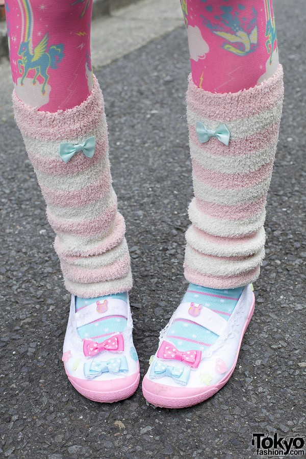 Uwabaki Slippers & Pink Leg Warmers
