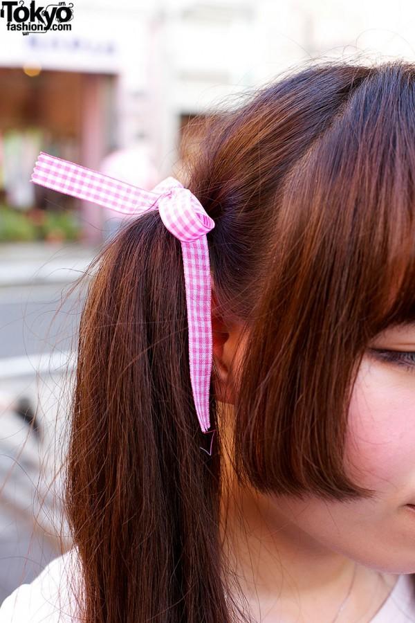 Gingham Ribbon Hair Bow