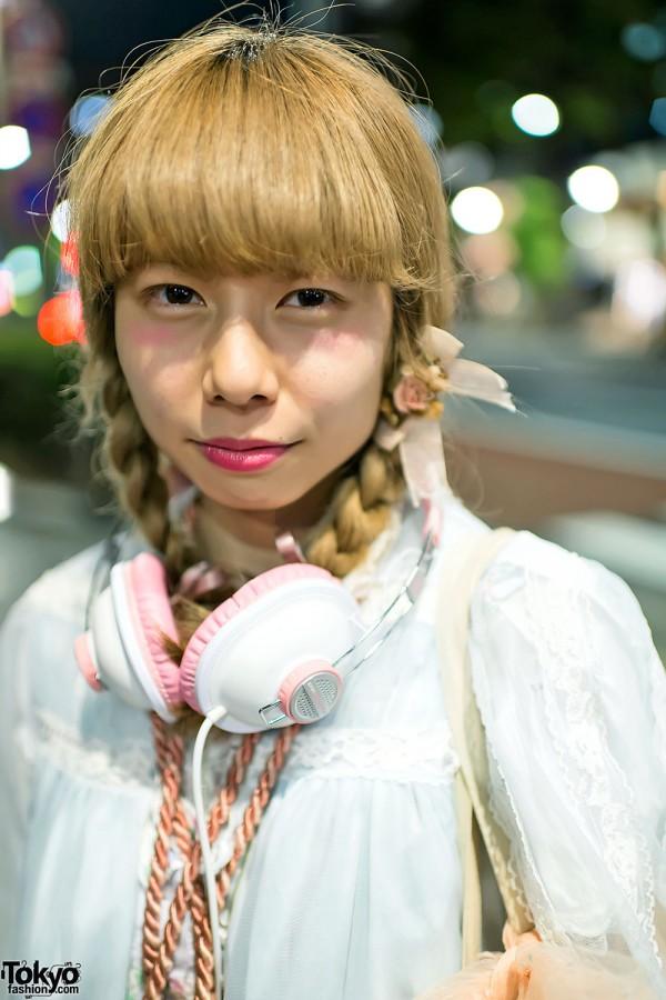 Braids Hairstyle & Pink Headphones in Harajuku