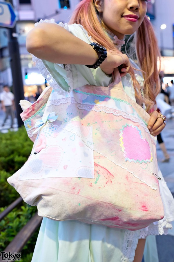 Pastel Lace & Hearts Bag in Harajuku