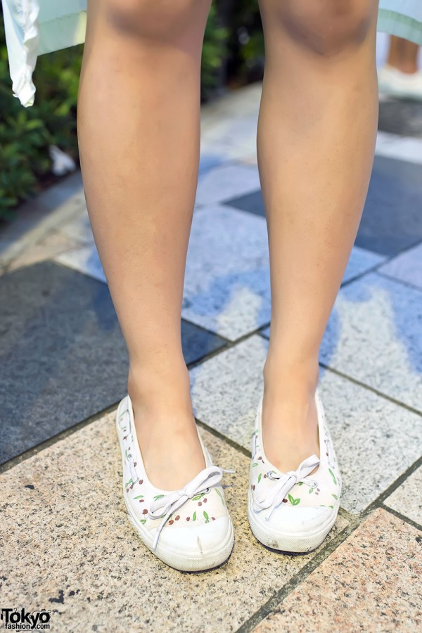 Cherry Print Flats in Harajuku