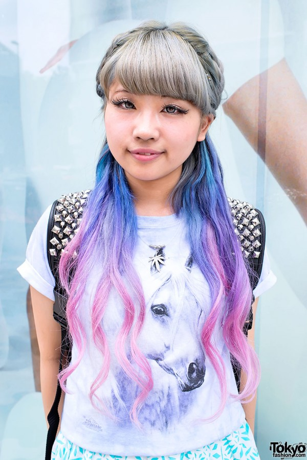 Aspiring Japanese Singer W Dip Dye Hair Amp Clear Backpack