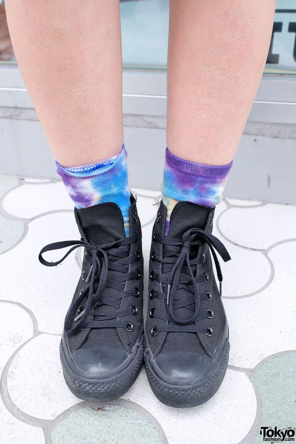 Tie-Dye Socks & High Top Sneakers