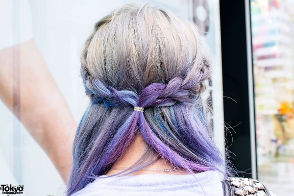 Pretty Purple Hair Braids in Harajuku