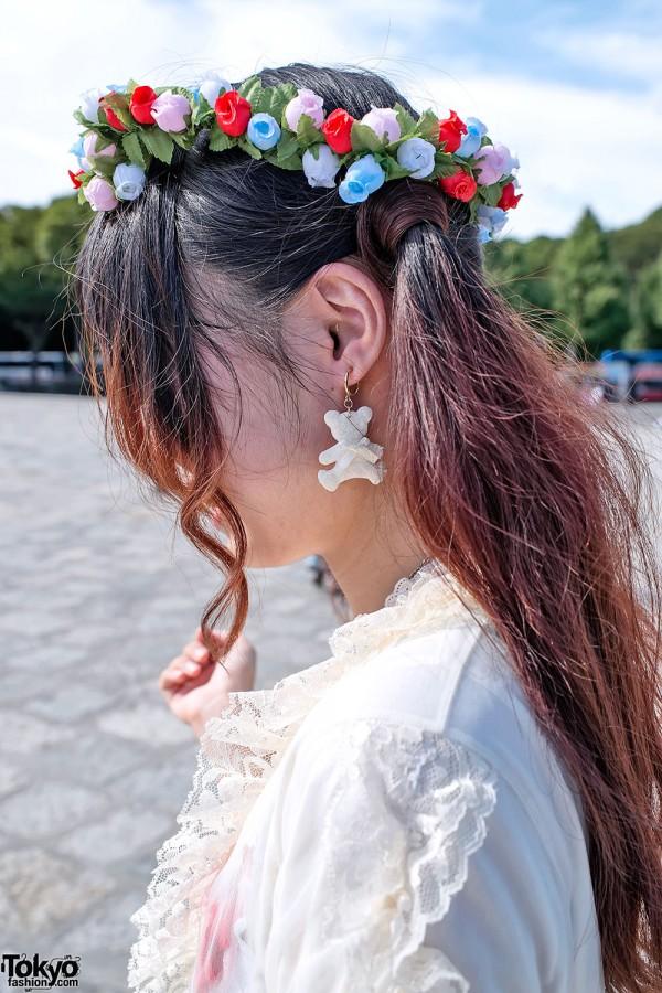 Flower Headband & Teddy Bear Earrings