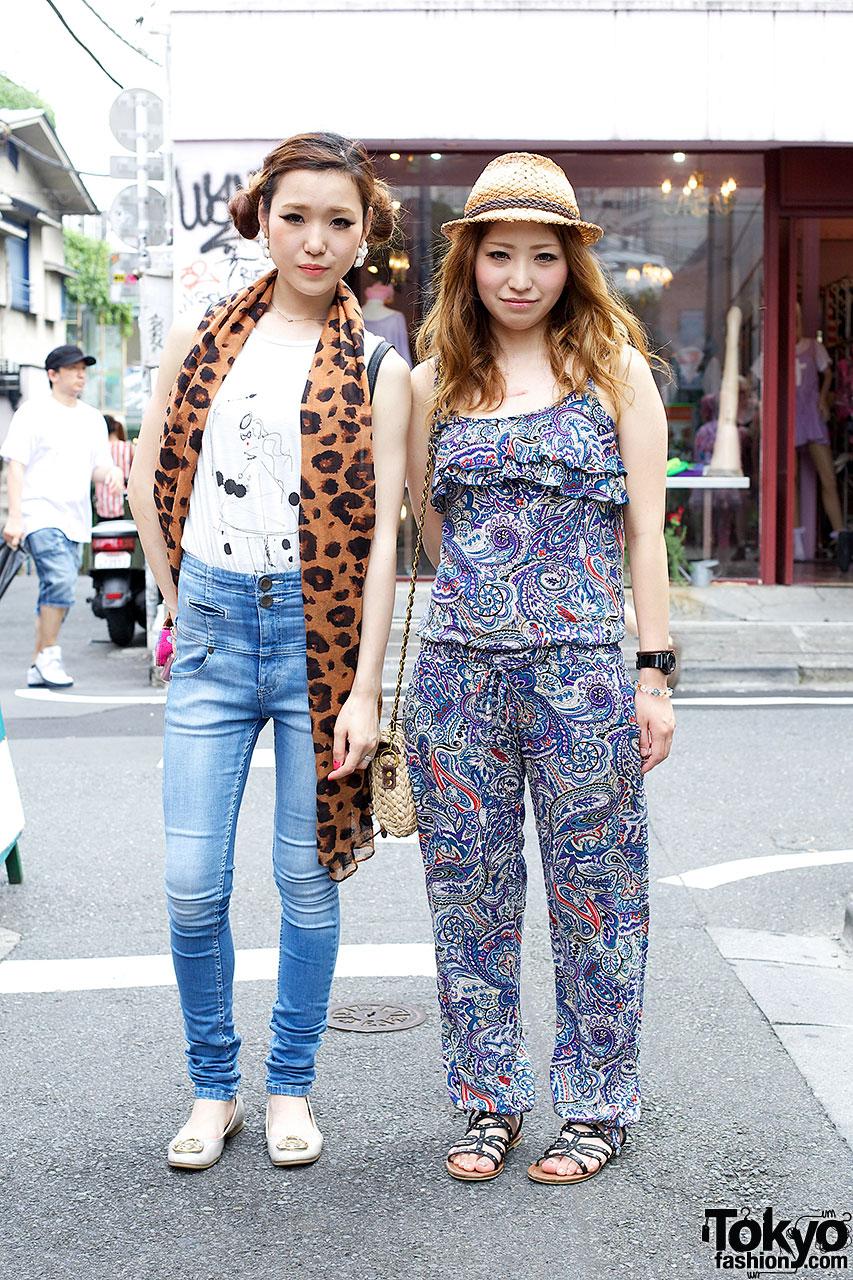 Girl w/ long scarf & friend w/ straw hat