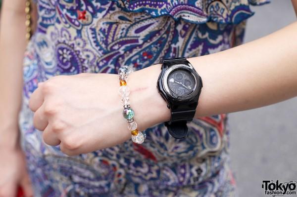 Casio Baby G watch & bead bracelet