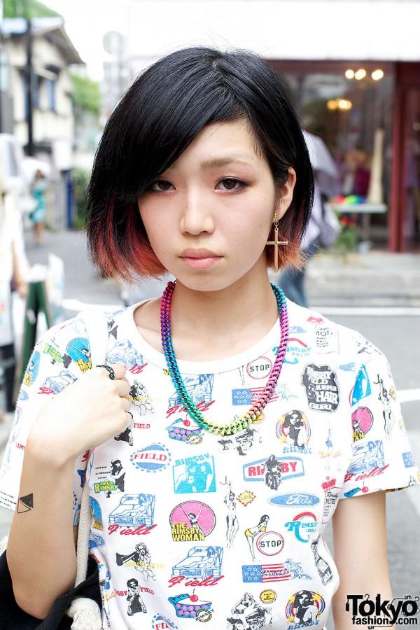 Pinup print t-shirt & rainbow coild necklace