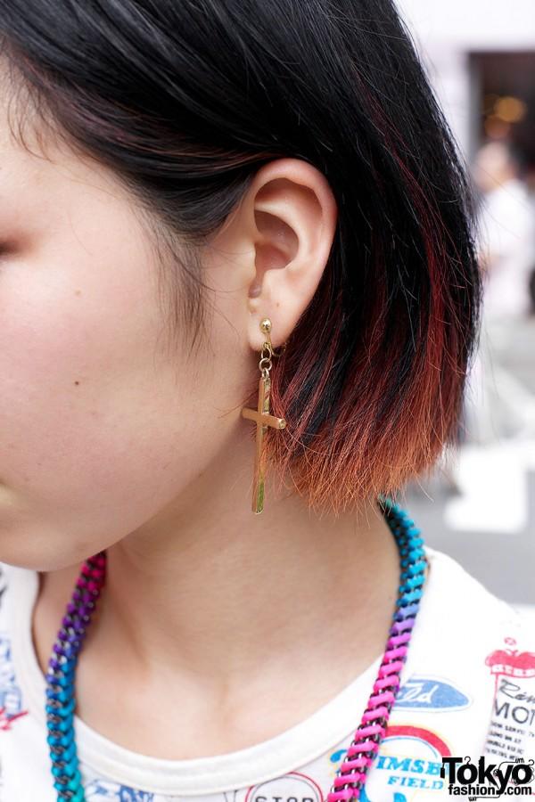 Gold cross earring
