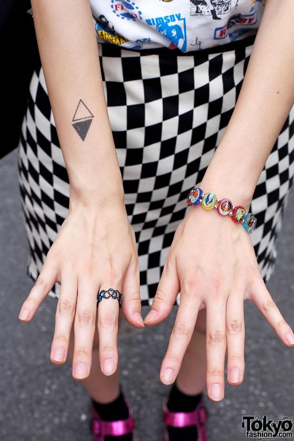 Diamond tattoo, wire ring & charm bracelet